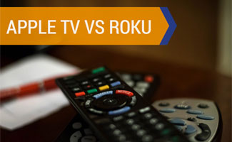 Two remotes on table: Apple TV vs Roku
