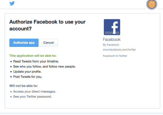 Authorizing Facebook Posts on Twitter