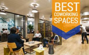Teams working at coworking spot