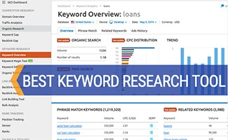 Screenshot of SEMRush Keyword Research Tool (caption: Best Keyword Research Tool)