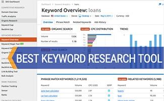 Screenshot of SEMRush Keyword Research Tool (caption: Best Keyword Research Tool)