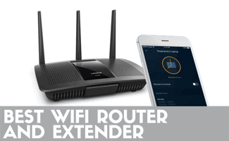 Router and phone (caption: Best WiFi Router and Extender)