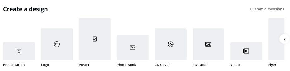 Canva design size options screenshot