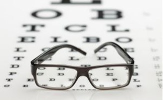 Spectacles on eye chart