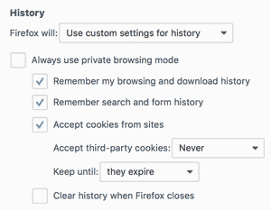 Browser Cookie Settings for Firefox (Screenshot)