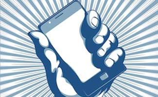 Cartoon hand holding phone