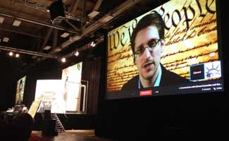 Edward Snowden on big screen during SXSW