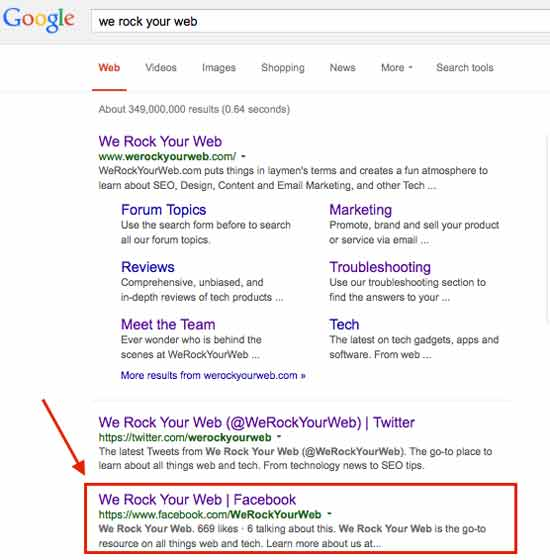 Facebook search results in Google for We Rock Your Web