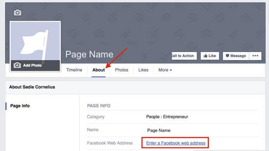 Facebook Custom URL