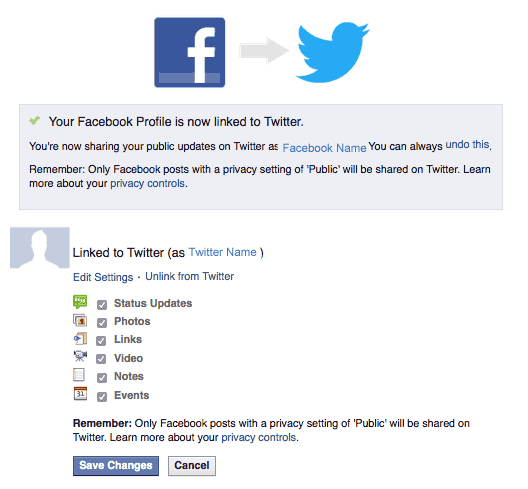 Twitter Settings to Post from Facebook