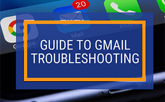 Gmail on iPhone screen (caption: Guide to Gmail Troubleshooting)
