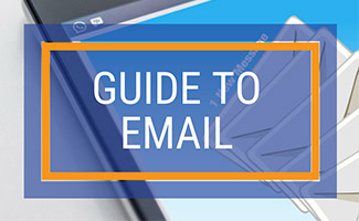 Email inbox on phone screen (caption: Guide to Email)
