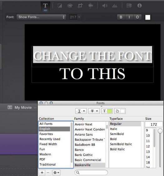 using fonts in iMovie
