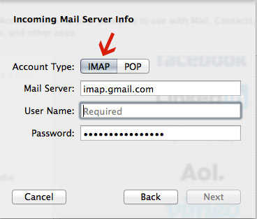 Screenshot of IMAP on MacMail setup on Mac
