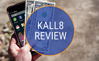 Cell phone with dollar bills (caption: Kall8 Review)