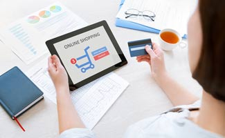 Lady shopping online