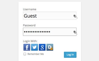 Login screen with password