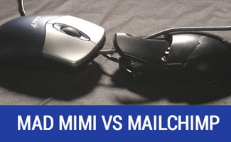 Mad Mimi vs MailChimp - two computer mice colliding