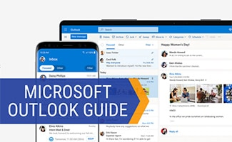 Outlook on computer and iphone (caption: Microsoft Outlook Guide)