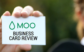 Lady holding business card: MOO Business Cards Review