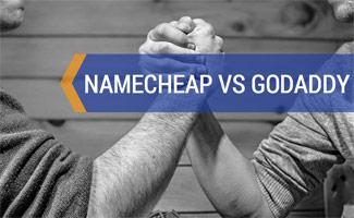 Two men arm wrestling: Namecheap vs GoDaddy