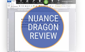 Nuance Dragon on screen (caption: Nuance Dragon Review)
