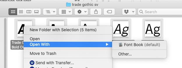 Opening fonts screenshot