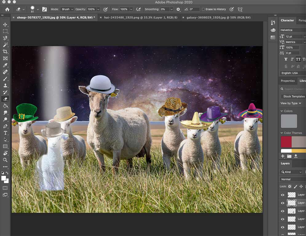 Sheep in pasture with hats on in Space editing on Photoshop