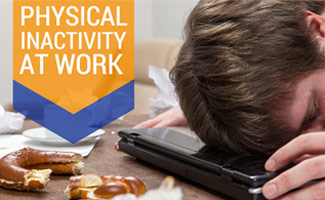 Man sleeping on his tablet with food:Physical Inactivity at Work