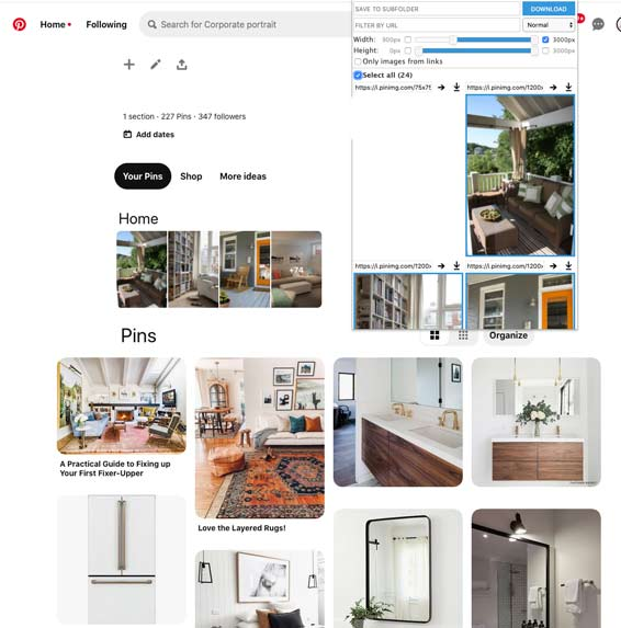 Pinterest download Pins using extension