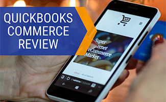Person holding iPhone with online store on screen (caption: QuickBooks Commerce Review)