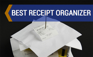 Stack of receipts (caption: Best Receipt Organizer)