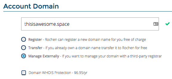Rochen: Using an External Domain Name
