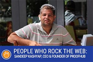 Sandeep Kashyap, CEO and Founder of ProofHub sitting next to table (caption: Interview with Sandeep Kashyap, CEO and Founder of ProofHub)