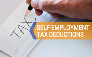 Man's hand writing taxes in notebook (caption: Self-Employment Tax Deductions)
