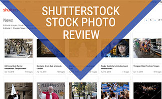 Screenshot of Shutterstock homepage (caption: Shutterstock Stock Photo Review)
