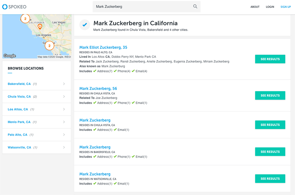 Spokeo screenshot of search results for Mark Zuckerberg