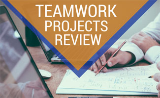 Team working together with computer: Teamwork Projects Reviews