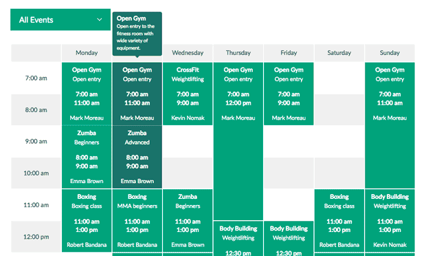 Timetable Responsive Schedule screenshot