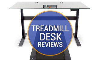Treadmill desk on white background. Caption: Treadmill Desk Reviews