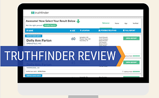 TruthFinder on computer screen (caption: TruthFinder Review)