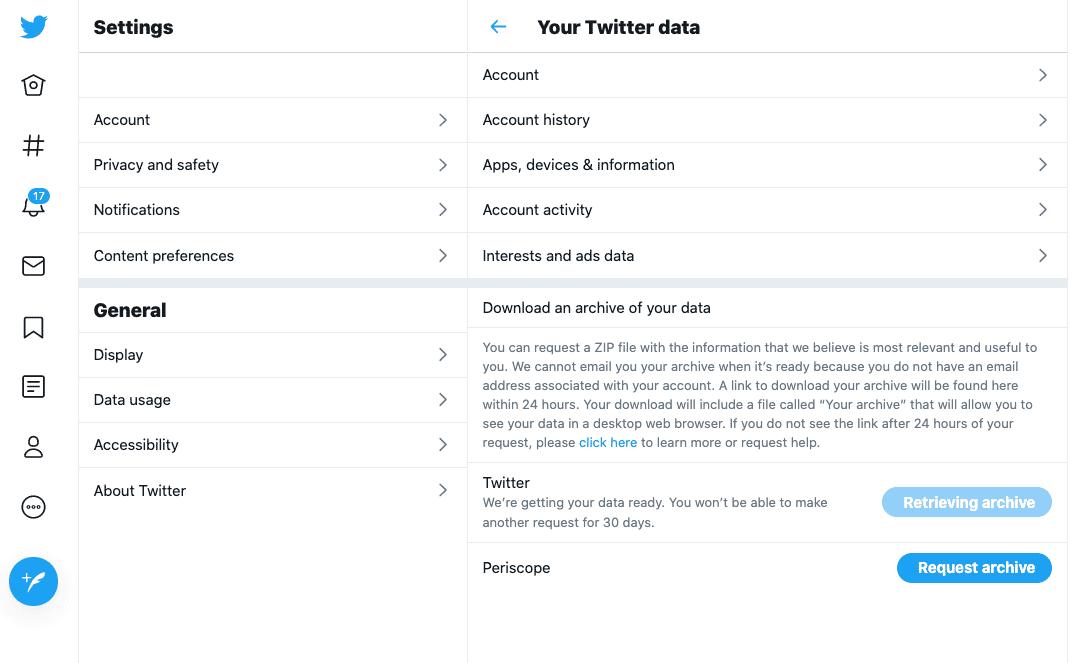 Twitter data download request screen