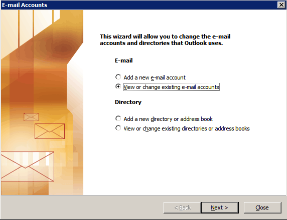 outlook express internet mail account