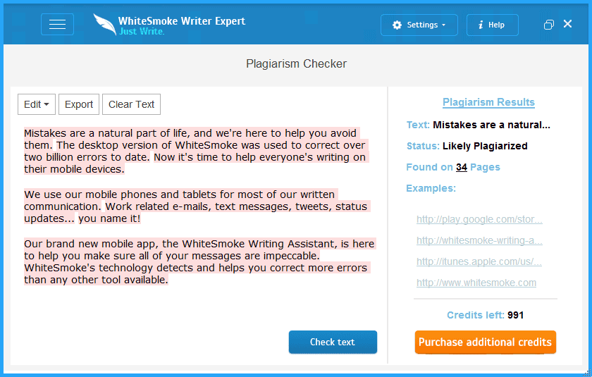 WhiteSmoke screenshot