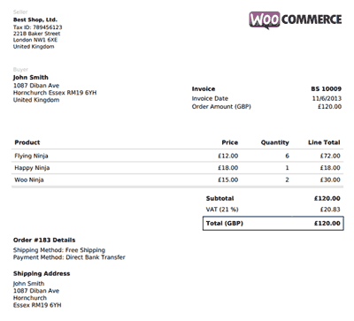 WooCommerce PDF Invoice Screenshot