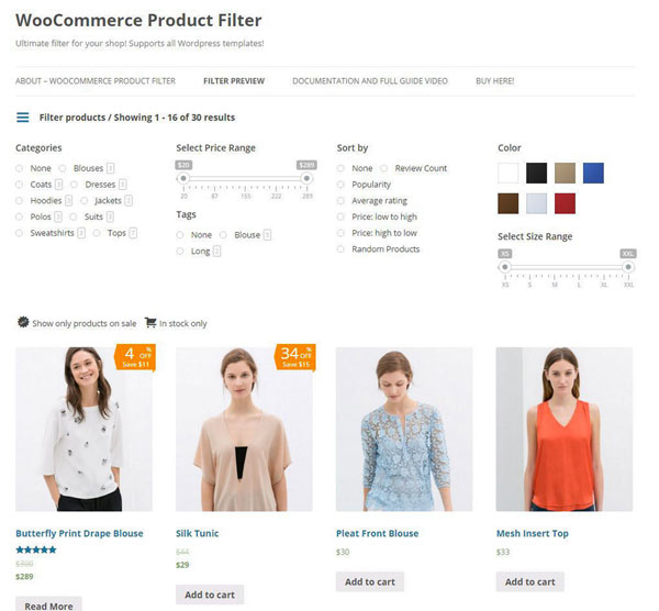 WooCommerce Product Filter Screenshot