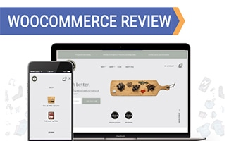Computer and phone with WooCommerce on screen (caption: WooCommerce Review)