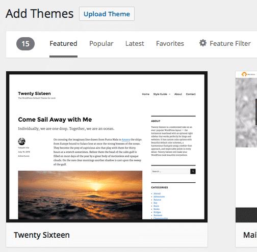 Wordpress - Add New Theme Dashboard