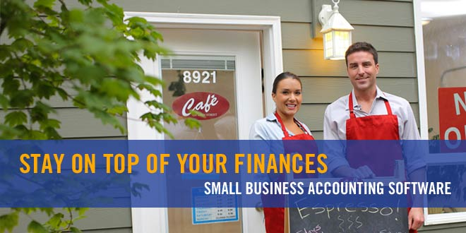 Shop owners outside cafe: Best Small Business Accounting