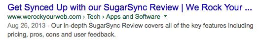 WRYW Sugarsync Meta Description in SERPs